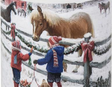 "Малка празнична декорирана свещ ""Winter Horse"", IHR"