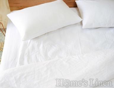 """Долен постелъчен чаршаф 100% естествен лен """"Дантела бяло"""", Natural Linens Collection"""