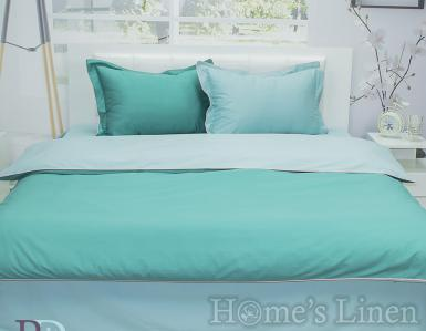 """Двулицево спално бельо 100% памучен сатен """"Зелено и светло зелено"""""""