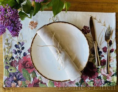 """Ленена салфетка с контрастен кант от френски пран лен, винтидж стил """"Натура"""""""