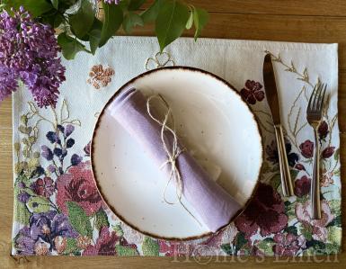 """Ленена салфетка с контрастен кант от френски пран лен, винтидж стил """"Лавандула"""""""