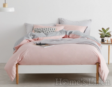 "Двулицев спален комплект памучен сатен, 100% памук ""Бледо розово - светло сиво"""