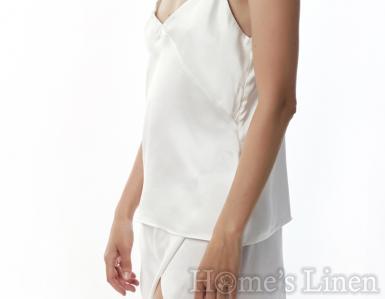"""Пижама сет корсаж и къс панталон от естествена коприна в нежно екрю """"Dea"""", EM&EVE"""