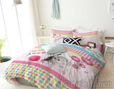 "Детско спално бельо 100% памук ранфорс ""Котенце"""