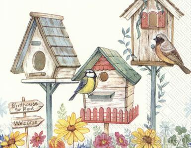 "Дизайнерски салфетки 20бр ""Birdhouse For Rent"", IHR"