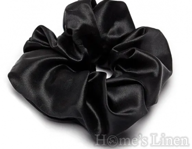"""Ластик за коса 100% естествена коприна стил """"Scrunchie"""", черно широк размер"""