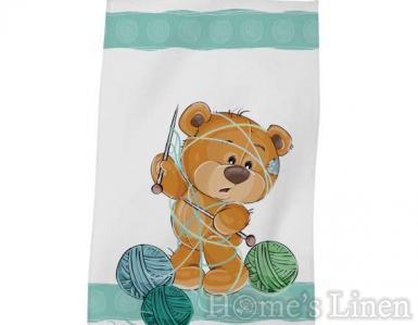 """Детска хавлиена кърпа DF печат """"Мече с прежда"""""""