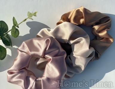 """Ластик за коса 100% естествена коприна стил """"Scrunchie"""", пепел от роза стандартен размер EM&EVE"""