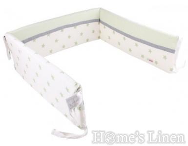 """Обиколник за бебешко легло """"Бяло+зелени звезди"""""""