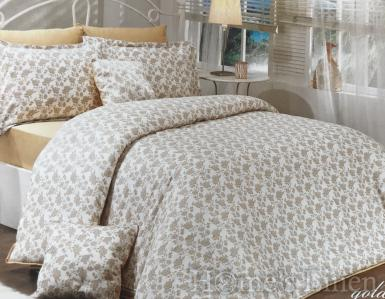 """Луксозен спален комплект памучен сатен, 100% памук """"Градина от рози"""" злато, Scents of France Collection"""