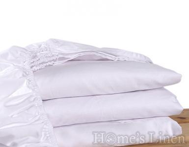 Долен чаршаф с ластик 100% памук перкал бяло