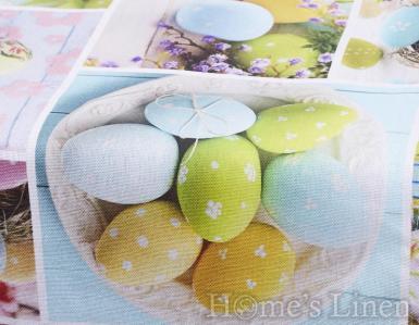 """Великденски тишлайфер за маса 100% памук """"Blue Easter"""""""