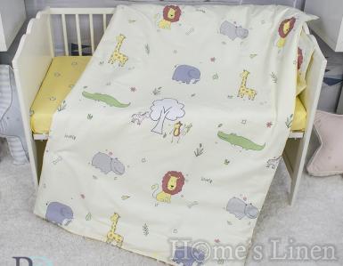 """Бебешки спален комплект памучен сатен, 100% памук """"Лъвче бебе"""""""