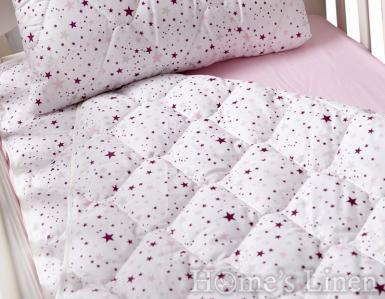 """Бебешка олекотена завивка и декоративна калъфка 100% памук """"Розови звезди"""""""
