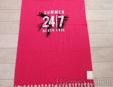 """Плажна кърпа 100% памук с ресни """"Summer"""", Mika Beach Collection"""