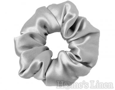 "Ластик за коса 100% естествена коприна стил Scrunchie ""Silver Grey"" стандартен размер, EM&EVE"