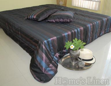 "Комплект капитонирано шалте и декоративна възглавница ""Тафта черно-лилаво"""