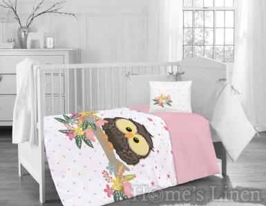"""Бебешки спален комплект 100% памук ранфорс """"Розов бухал"""""""