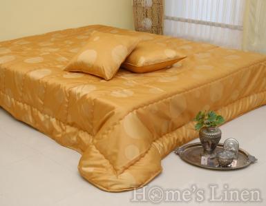 """Комплект капитонирано шалте и декоративна възглавница """"Дублирана тафта точки злато"""""""