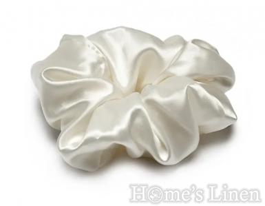 "Ластик за коса 100% естествена коприна стил ""Scrunchie"", перла широк размер"