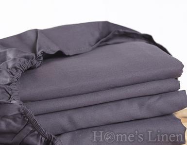 Долен чаршаф с ластик 100% памучен сатен антрацит