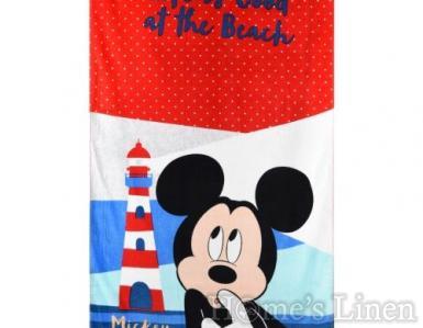 """Детска плажна кърпа 100% памук """"Мики на плаж"""""""