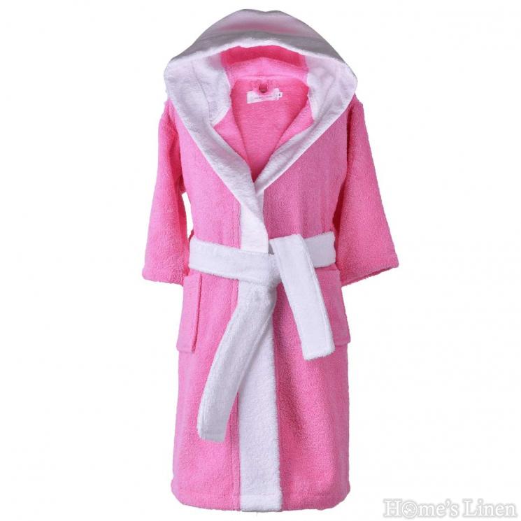 """Детски халат за баня 100% памук """"Розов/бял"""""""