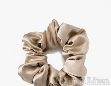 """Ластик за коса 100% естествена коприна стил """"Scrunchie"""", пясъчно стандартен размер"""