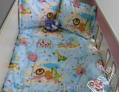 "Бебешко спално бельо 100% памук ""Зоопарк в синьо"""