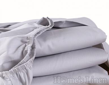 Долен чаршаф с ластик 100% памучен сатен сиво