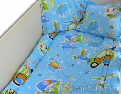 """Бебешки спален комплект 100% памук """"Сърфисти"""""""
