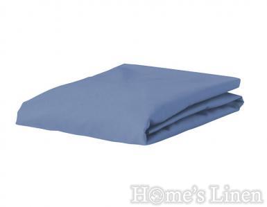 Долен чaршаф с ластик 100% памук дюс морско синьо