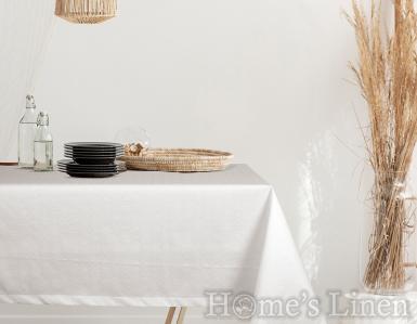 """Жакардова покривка за маса в бяло, незадържаща петна  """"Ранда"""""""