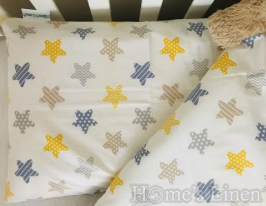 """Комплект 2 броя калъфки за възглавница за бебе 100% памук """"Шарени звездички"""""""