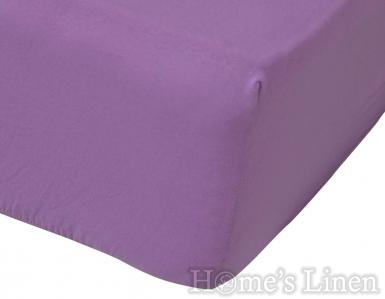 Долен чаршаф с ластик 100% памук трико лилаво 135