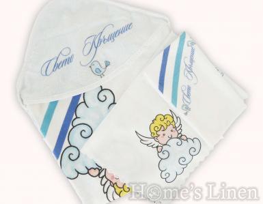 """Комплек за кръщене """"Ангелче"""" синьо"""