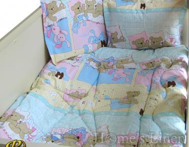 """Бебешки спален комплект 100% памук """"Лека нощ в синьо"""""""