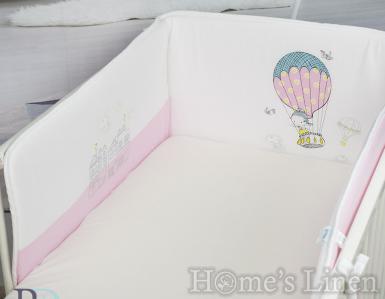 """Обиколник за бебешко легло/ кошара """"Балон в розово"""""""