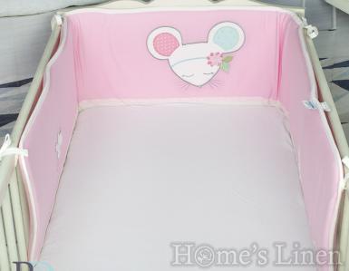 """Обиколник за бебешко легло/ кошара трико """"Мишката Миша"""""""