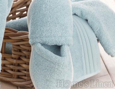 Хавлиени чехли 100% памук светло синьо