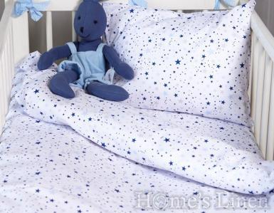 """Спален комплект 100% памук в 3 части """"Сини звезди мулти"""""""
