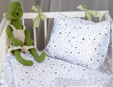 """Спален комплект 100% памук в 3 части """"Зелени звезди"""""""