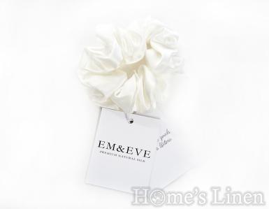 """Ластик за коса 100% естествена коприна стил Scrunchie """"Ivory"""" стандартен размер, EM&EVE"""