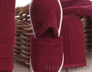 Хавлиени чехли 100% памук бордо
