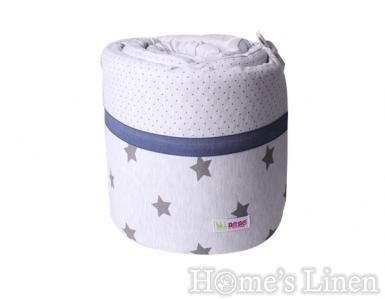 """Обиколник за бебешко легло """"Сиво+звезди"""""""