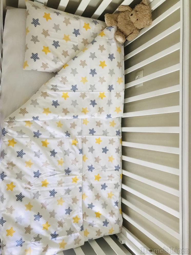 """Плик за завивка за бебешко креватче 100% памук """"Шарени звездички"""""""