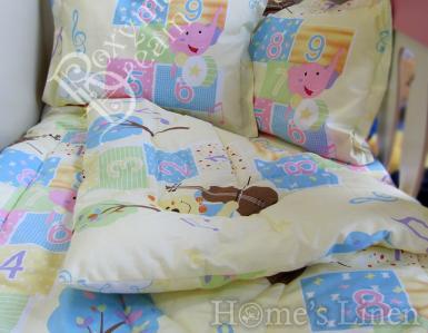 """Бебешко спално бельо 100% памук """"Мече с цигулка в жълто"""""""