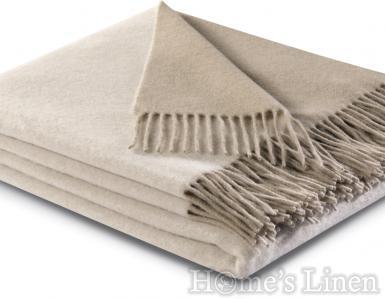 "Луксозно кашмирено одеяло/ наметалo в клаическо бежово ""Cashmere Plaid"", Solid Collection"