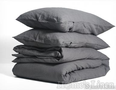 """Долен чаршаф с ластик 100% Френски пран лен """"Стоманено сиво"""", Natural Linens Collection"""