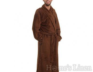 Мъжки домашен халат с качулка 100% microfleece плюш